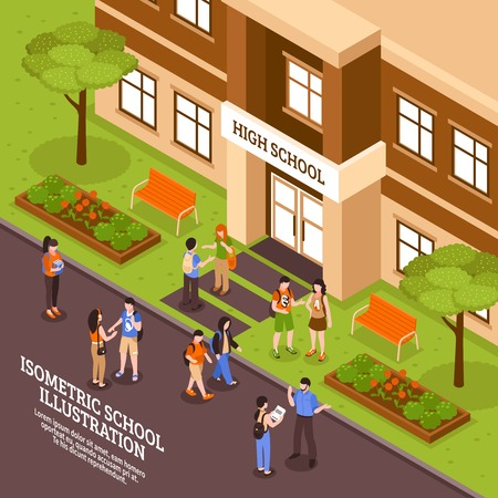 High school building outdoor area in summer isometric view poster with entrance door and students vector illustration