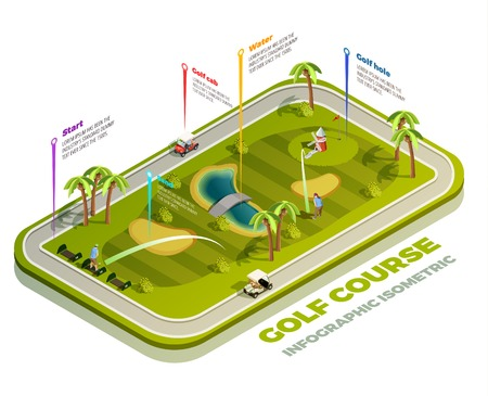 Golf course isometric infographic with teeing ground water hazard sand bunker areas vector illustration