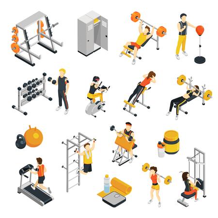 피트 니스 아이소 메트릭 아이콘 스포츠 장비 및 체육관기구를 사용 하여 체육관에서 훈련하는 사람들과 함께 설정 격리 된 벡터 일러스트 레이 션