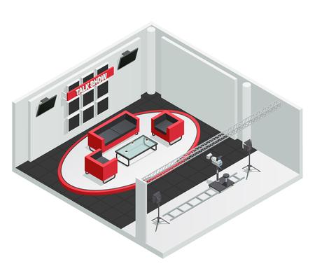 ビデオ テレビ トークショー スタジオ等尺性内部構成レールと照明キットのベクトル図に家具カメラで