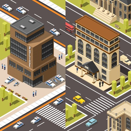 Set of two government building isometric vertical banners with police and bank offices with urban scenery vector illustration