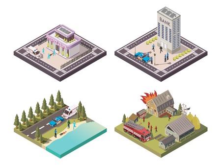 異なる場所で人々を助けるレスキューサービス労働者白の背景3d ベクトルイラストレーションに分離された2x2 アイソメコンポジションセット