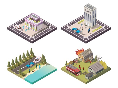 Rescue service workers helping people in different places 2x2 isometric composition set isolated on white background 3d vector illustration