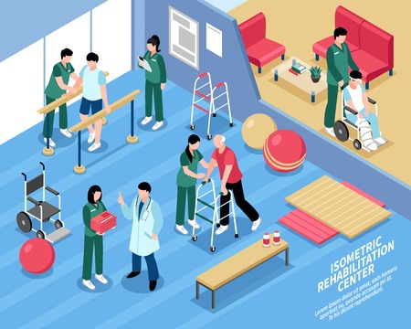 Rehabilitation center exercise therapy treatment isometric poster with physiotherapists and staff nurses attending patients vector illustration 일러스트