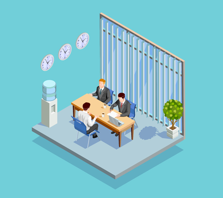 Recruitment isometric people composition with office room interior applicant and two human resource managers at table vector illustration