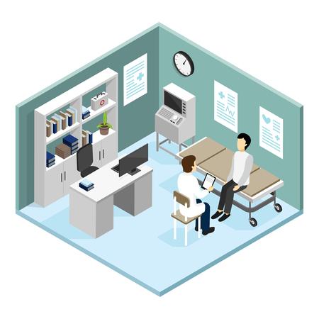 心臓病等尺性設計概念ベクトル図でフロントに近代的な診断設備と医師のオフィスでは、患者