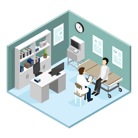 Patient in doctors office with modern diagnostic equipment on reception at cardiologist isometric design concept vector illustration Illustration