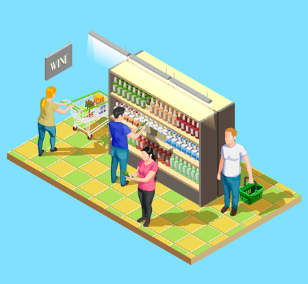 Isometric people shopping composition of self-service sales cabinet in supermarket with wine and customer characters vector illustration