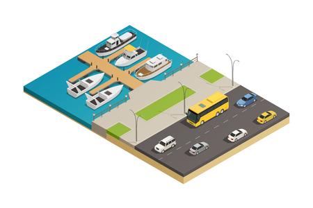 Van de het waterkantcraft van het waterkant de kade en de autosnelweg isometrische samenstelling van het wegvervoer met schip en motorboten vectorillustratie