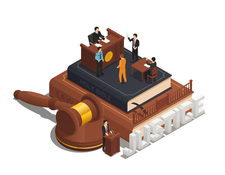 Law justice isometric composition with criminal trial in courtroom on bible with witness judge and policeman vector illustration
