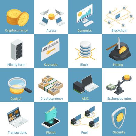 Cryptocurrency 鉱業、blockchain およびセキュリティ、為替レート、装備等尺性のアイコン キー コード分離ベクトル図