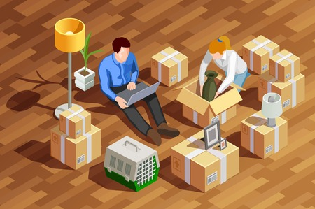 Moving people isometric composition with married couple human characters unpacking cardboard boxes in the new apartment vector illustration