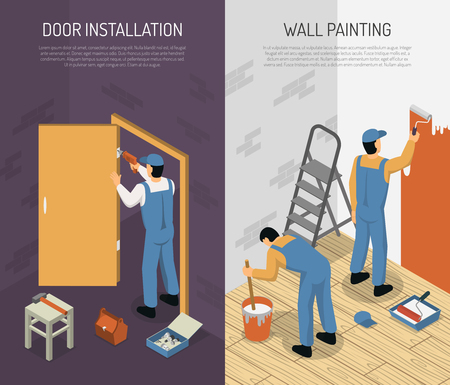 Isometric vertical renovation banners set with men installing door and painting walls 3d isolated vector illustration