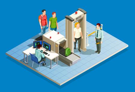 Comprobar en la zona mundial de los elementos isométricos con los mecanismos de vigilancia durante la inspección de la cuenta y el control de la ilustración de vector de equipaje de cabina Foto de archivo - 85607635
