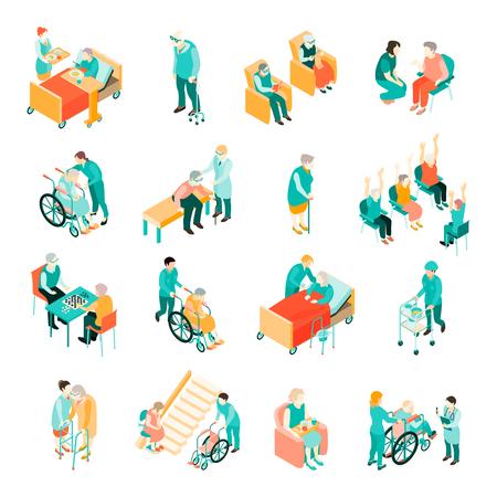 Isometrische reeks bejaarde mensen in verschillende situaties en medisch personeel in verpleeghuis geïsoleerde vectorillustratie