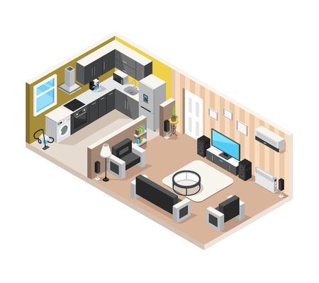Il concetto di progetto isometrico interno domestico con il salone della cucina e gli elettrodomestici per soggiorno comodo ed il resto vector l'illustrazione Archivio Fotografico - 85607639