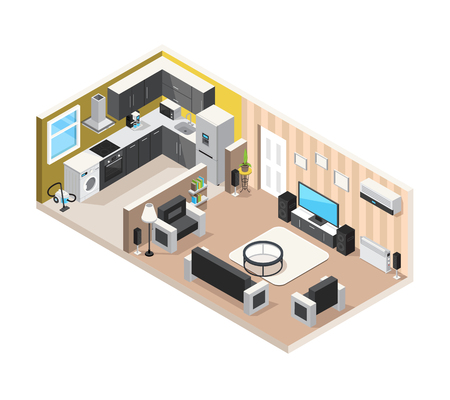 Home interior isometric design concept with kitchen living room and household appliances for comfortable stay and rest vector illustration