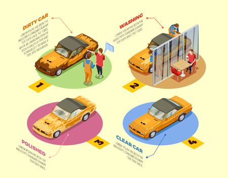 Service de lavage de voiture 4 icônes infographiques isométriques Affiche avec produits de nettoyage et de polissage de produits cosmétiques pour automobiles Illustration vectorielle Banque d'images - 85548189