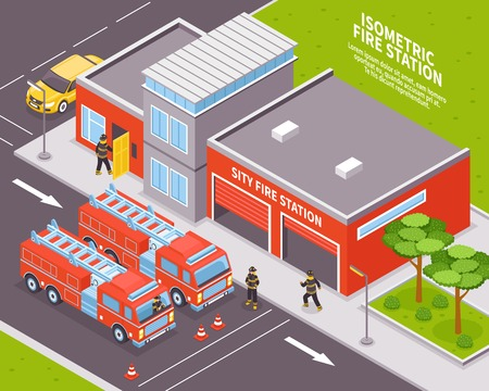 Isometrisch brandweerkorpstation met twee motoren 3d vectorillustratie Stock Illustratie