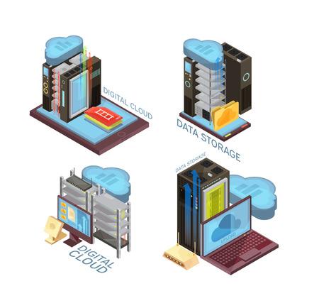 Concepto isométrico del servicio de nube de datos con servidor de alojamiento, transferencia de información, computadora y dispositivos móviles, ilustración vectorial aislado