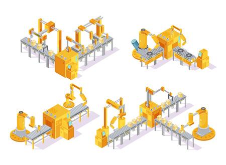생산 라인 및 포장 절연 벡터 일러스트 레이 션을 포함 하여 컴퓨터 제어 아이소 메트릭 디자인 컨셉 컨베이어 시스템 일러스트