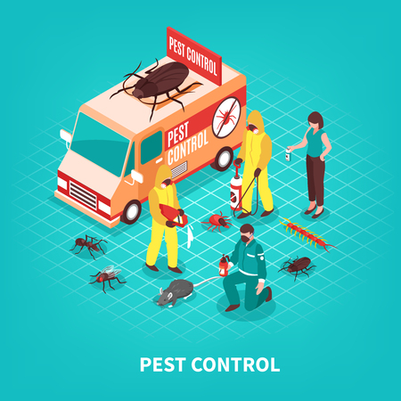 Pest control service workers in uniform getting rid of different pests on blue background isometric vector illustration Illustration