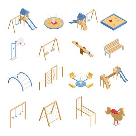 De reeks van de kinderenspeelplaats isometrische pictogrammen met schommeling, dia's, basketbalhoepel, zandbak, beklimmend kaders geïsoleerde vectorillustratie Stock Illustratie