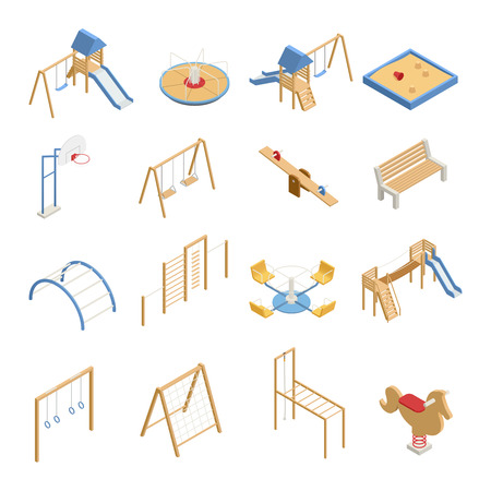 Children playground set of isometric icons with swings, slides, basketball hoop, sandbox, climbing frames isolated vector illustration