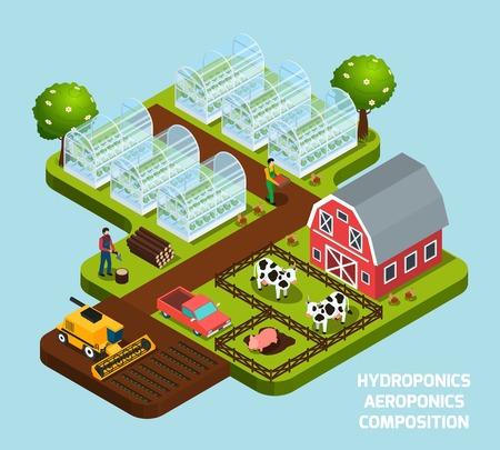 農耕と収穫のシンボルと共に水耕栽培と空中栽培の等角合成図