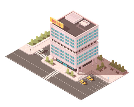 Office building with ventilation equipment on roof road infrastructure and parking for taxi isometric mockup vector illustration Illustration