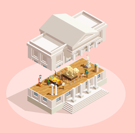 Museum icon isometric composition with museum building facade divided in section and exhibit items shown inside vector illustration