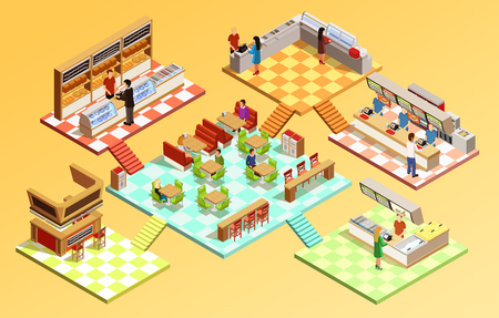 Food court composition with fast food restaurant isometric room interiors tables seats and counters vector illustration Illustration