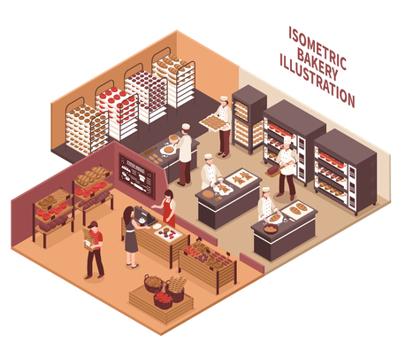 Bakery interior isometric vector illustration with professional ovens shelves with bread goods and trading room