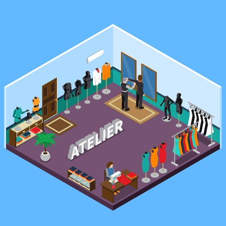 Atelier isometric design with naked and dressed mannequins tailors client interior elements on blue background vector illustration