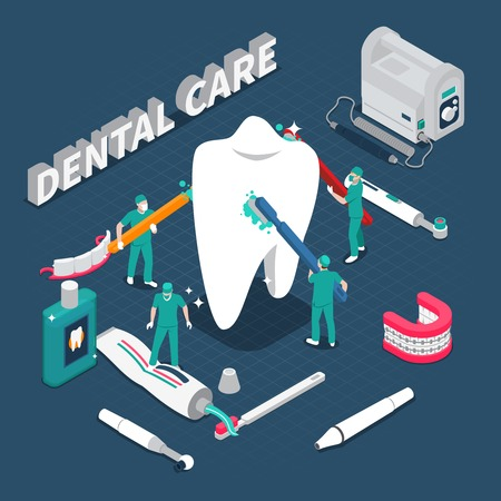 Dental care isometric composition with dentist characters cleaning big healthy tooth by toothbrushes cartoon vector illustration