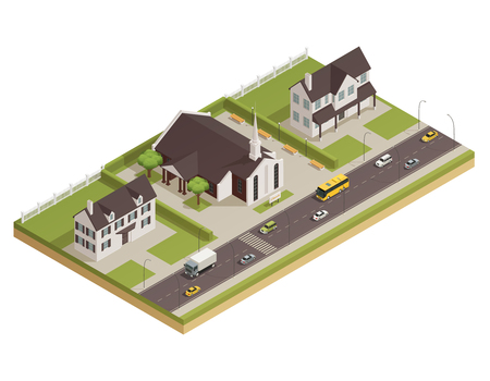 Modern contemporary catholic church white stone building with parking lot and neighboring houses isometric composition vector illustration