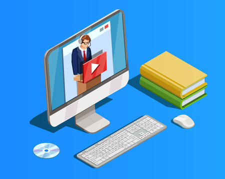 Online education icon isometric composition with books and desktop computer with video tutorial teacher in headset vector illustration Zdjęcie Seryjne - 85481011