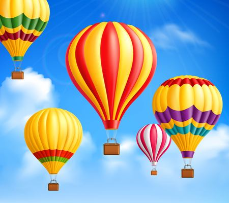 Colored hot air balloons icon. Illustration