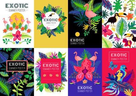 Exotische zomer advertentie banners. Stock Illustratie