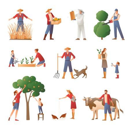 Reeks vlakke pictogrammen met mensen in de landbouw met inbegrip van imker, tuinman, agrarisch met oogst geïsoleerde vectorillustratie
