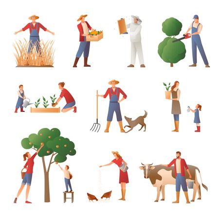 Set of flat icons with people in farming including beekeeper, gardener, agrarian with harvest isolated vector illustration