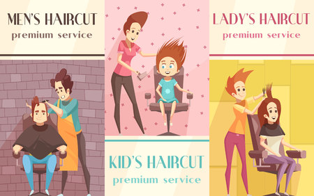 Barbershop vertical banners set with men lady and kids haircut symbols flat isolated vector illustration