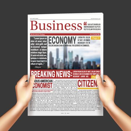 暗い背景の現実的なベクトル図に新聞を両手で読む国際経済ビジネス ニュース ポスター