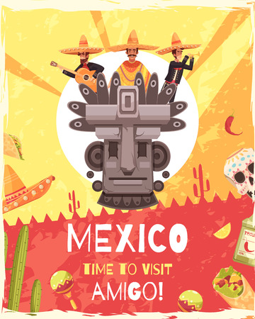 Mexico travel poster with invitation words and mexican ancient mythology and culture symbols flat vector illustration