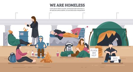 De gekleurde en vlakke dakloze mensen horizontale achtergrond met wij is dakloze beschrijvingen vectorillustratie