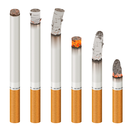 Set of realistic cigarettes with ash, orange filter, stages of burn isolated on white background vector illustration