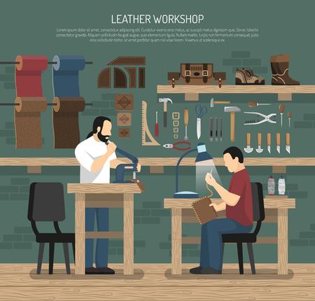 Skinners die met leer in workshopbinnenland werken met hulpmiddelen en de vlakke vectorillustratie van huidwaren