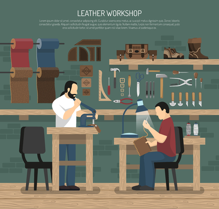 Skinners working with leather in workshop interior with tools and skin goods flat vector illustration