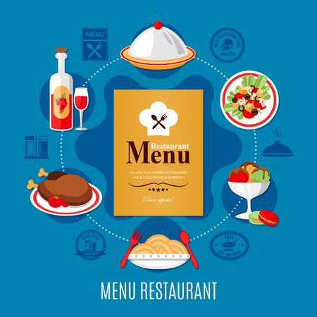 レストランメニューと、青の背景に様々な料理のコンセプトフラットベクトルイラスト  イラスト・ベクター素材