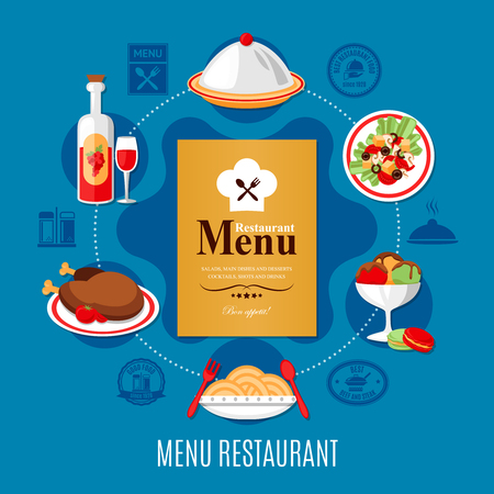 Restaurant menu and various dishes concept on blue background flat vector illustration